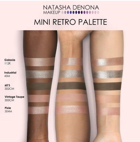 Natasha denona mini retro palette swatches and colours