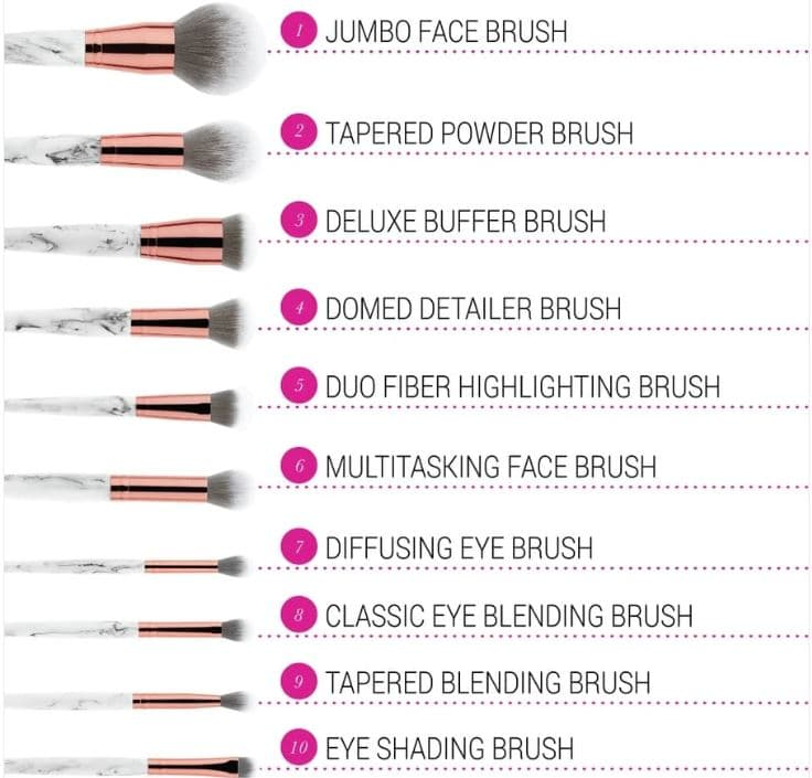 marble luxe brush set BH cosmetics review